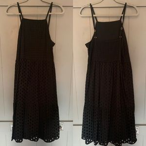 LOFT Black Eyelet Tank Midi-dress with Square Neck